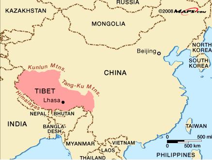 Mapa del Tíbet