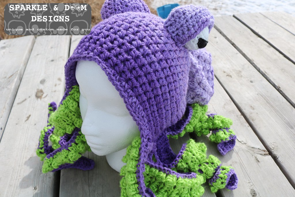 HAT Octopus Hat Purple Lime A Zreekee Flickr New Crochet Octopus Hat Pattern