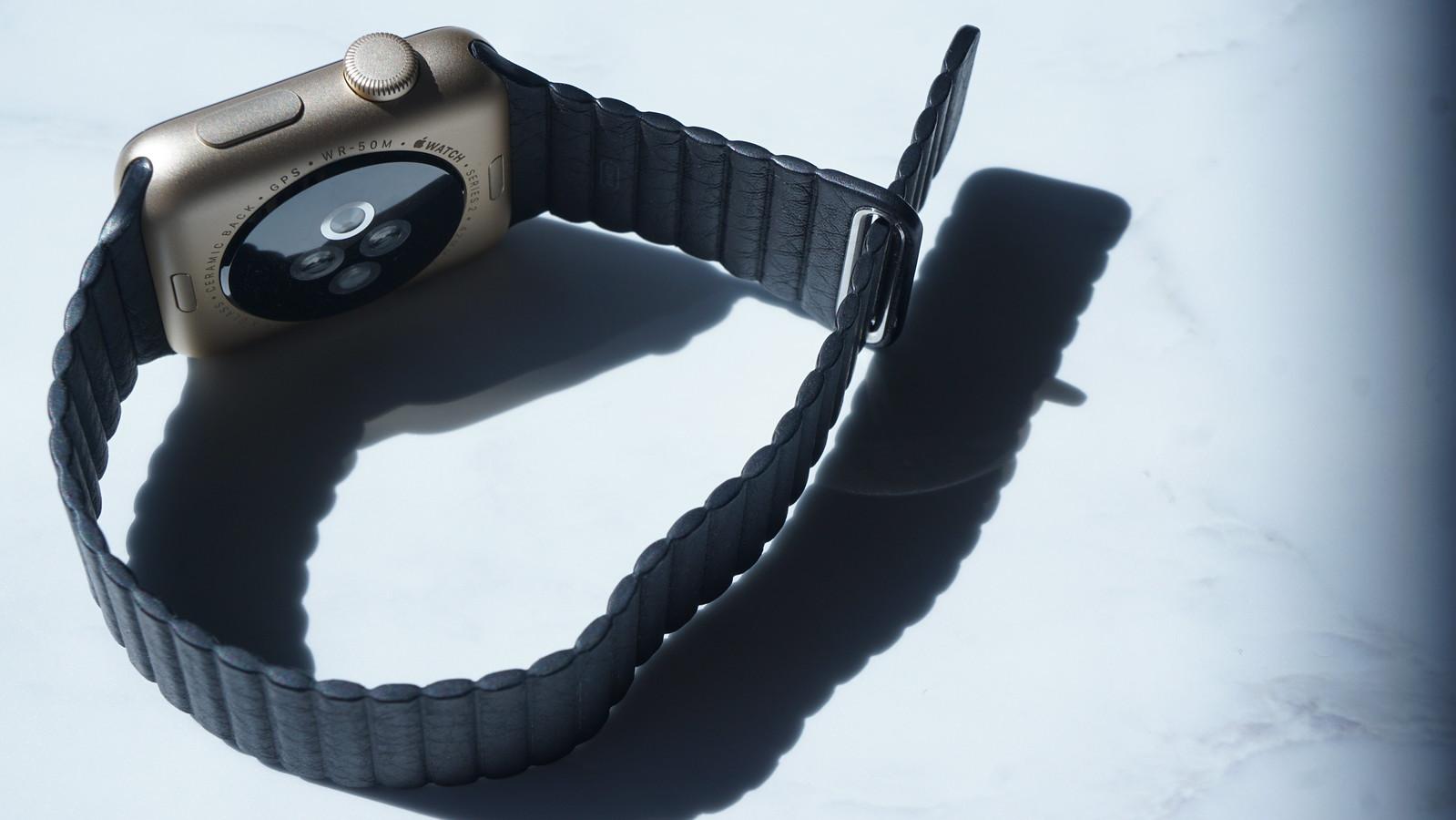 マグネット内蔵のバンドを腕に巻き付けるだけで簡単に装着できる