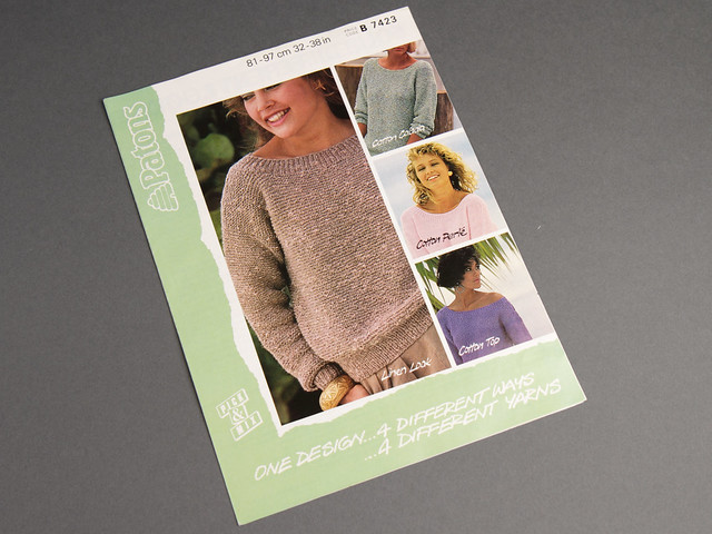 Patons 7423 Women's Scoop-Neck Sweater 80s Vintage Knitting Pattern Leaflet