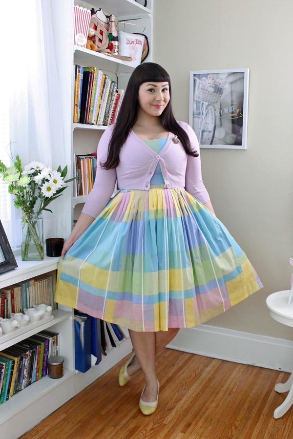 plaid pastel vintage dress