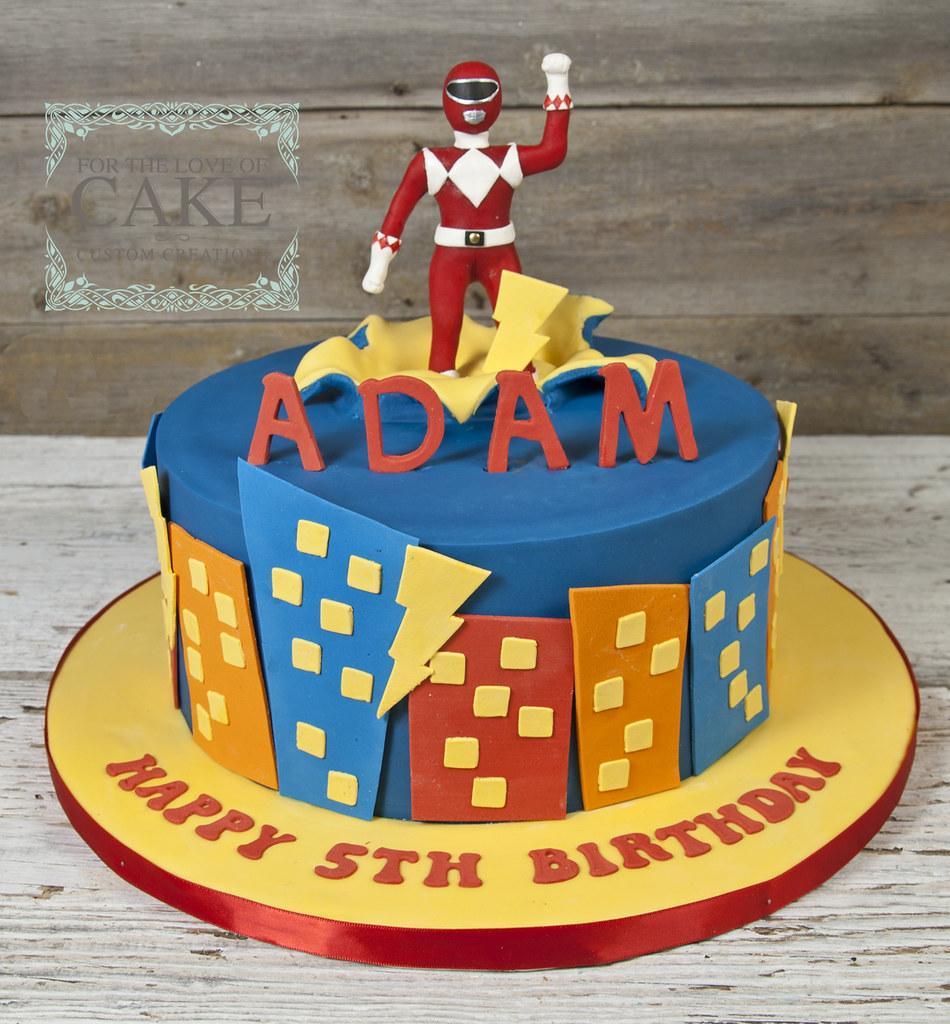 Bc4722 Red Power Ranger Birthday Cake Toronto Genevieve Finley