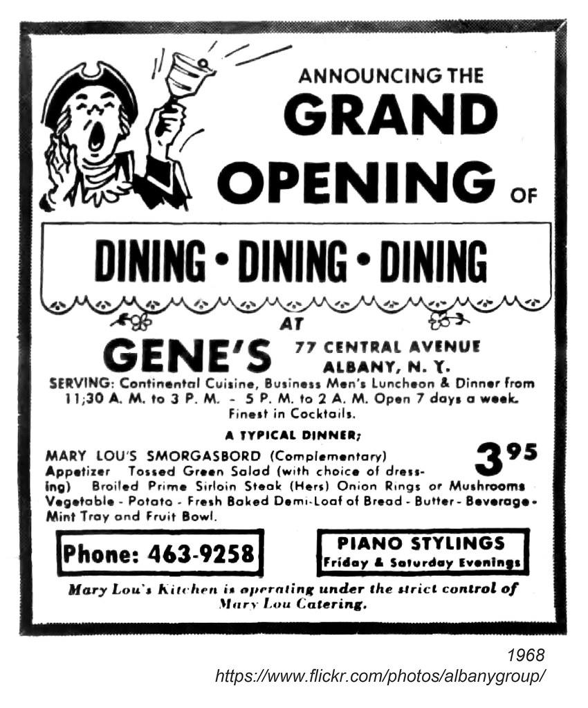 1968 gene\'s restaurant | AlbanyGroup Archive | Flickr