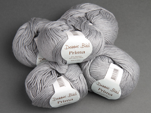 Debbie Bliss Prima DK light grey merino/bamboo yarn - £2.50/ball