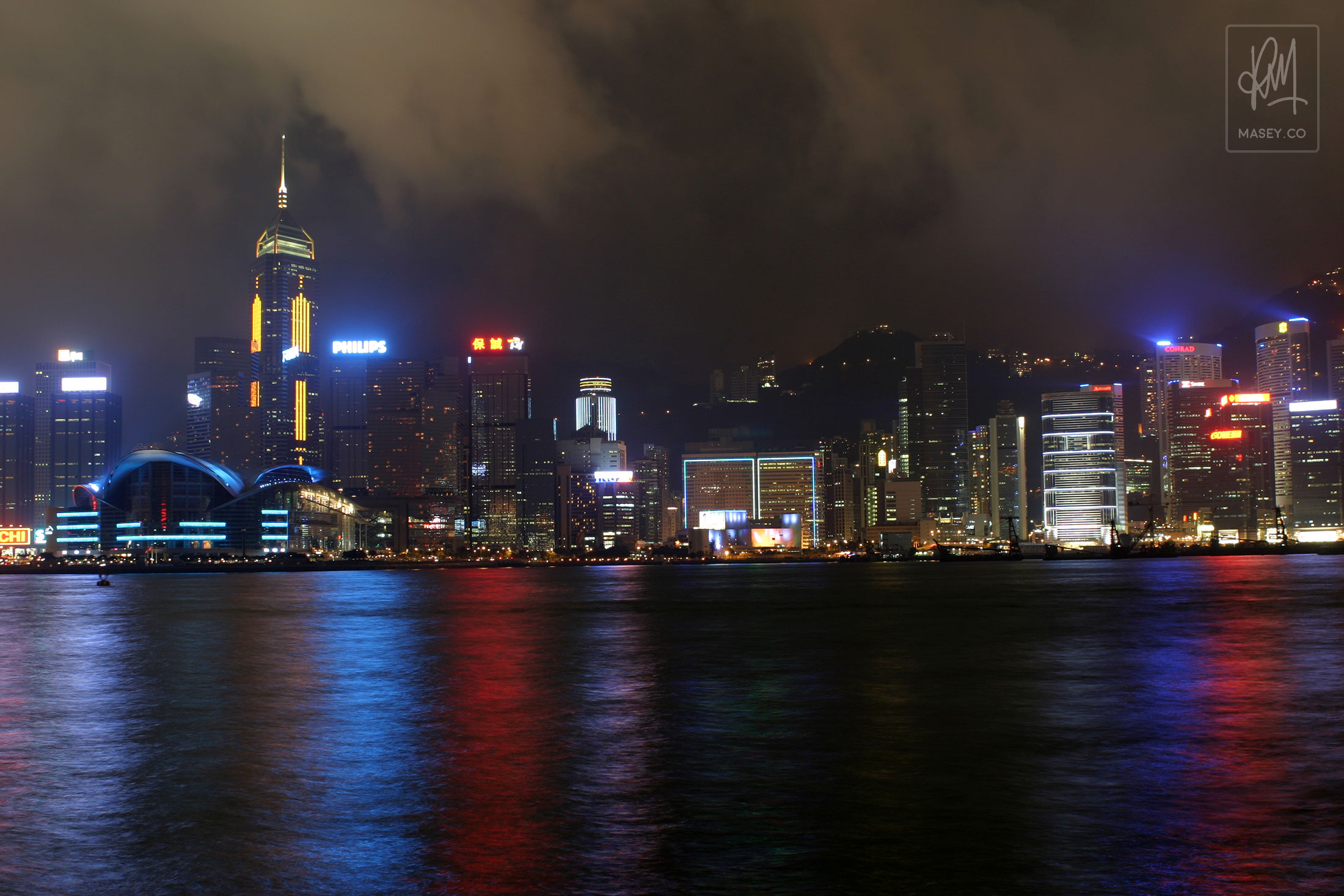 The famous Hong Kong city skyline from the harbour