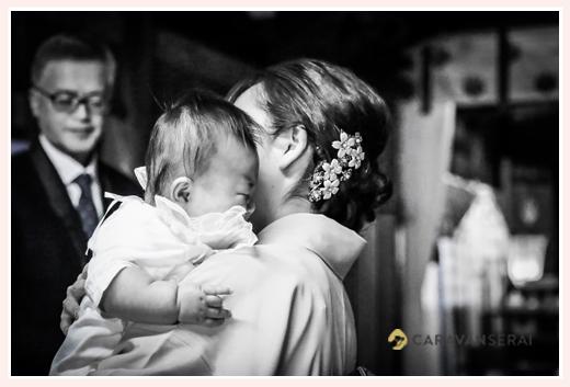 いとこ同士で本土神社でのお宮参り・100日祝い写真の出張撮影(岐阜県多治見市) お食い初め・お食事会 中部地方の女性出張カメラマン