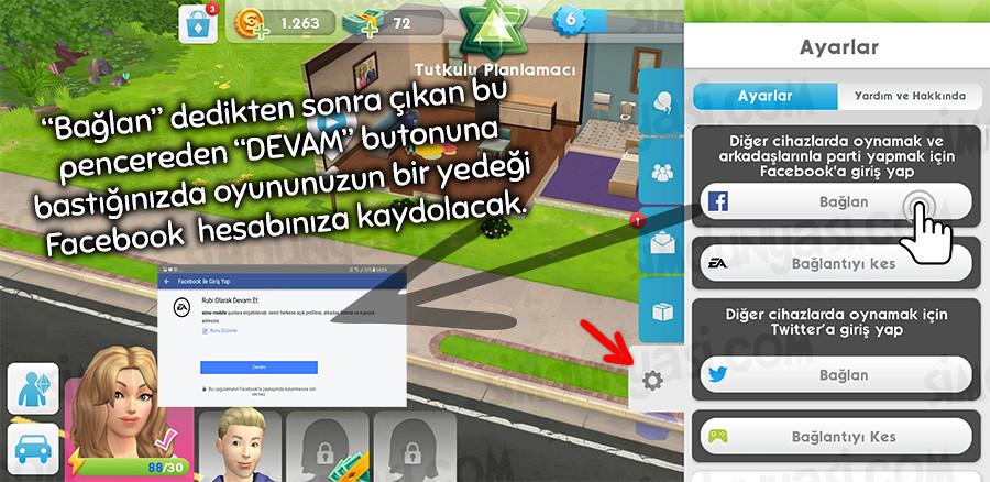 The Sims Mobile Twitter Facebook EA Origin Oyunu Kaydetmek Yedek Almak Geri Yüklemek