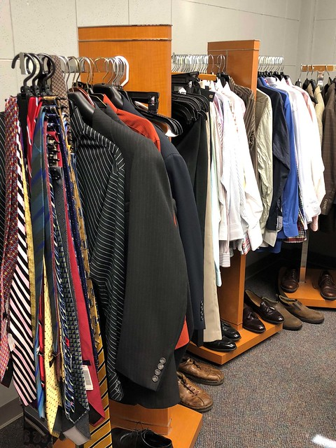 Clothing on display at the Career Closet.