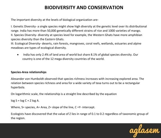 Important Notes of Biology for NEET: Biodiversity and Conservation