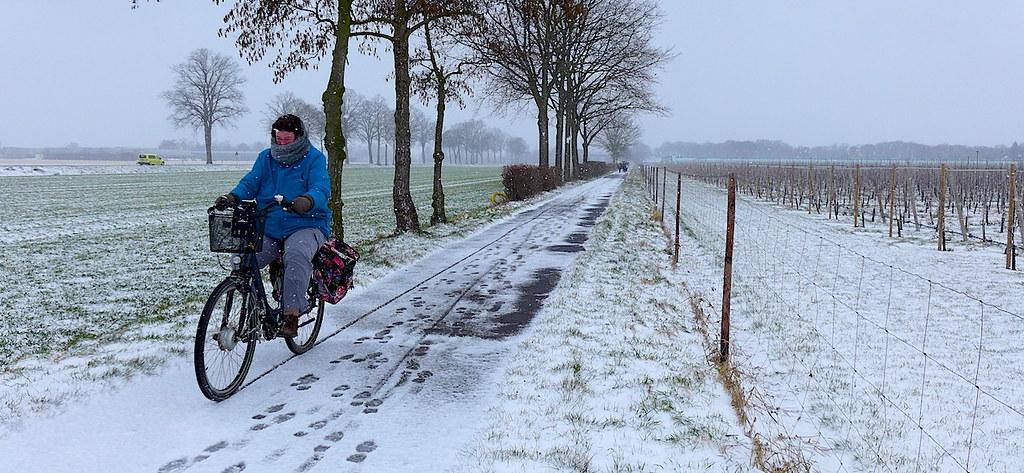 17 марта 2018 велодорожка Шлюфф вблизи Крефельда в Германии. Велотуризм глазами пешего ходока: эх, люблю же я простых любителей велосипеда!