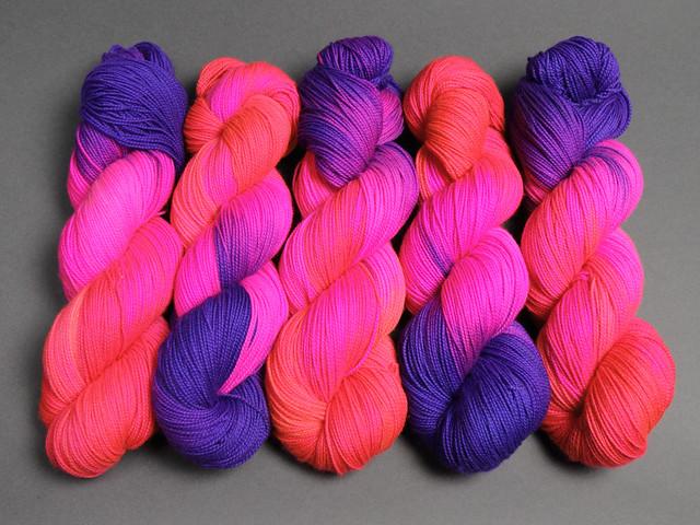 Favourite Sock – hand-dyed pure merino superwash wool 4 ply/sock yarn 100g – 'Overreaction' (neon)