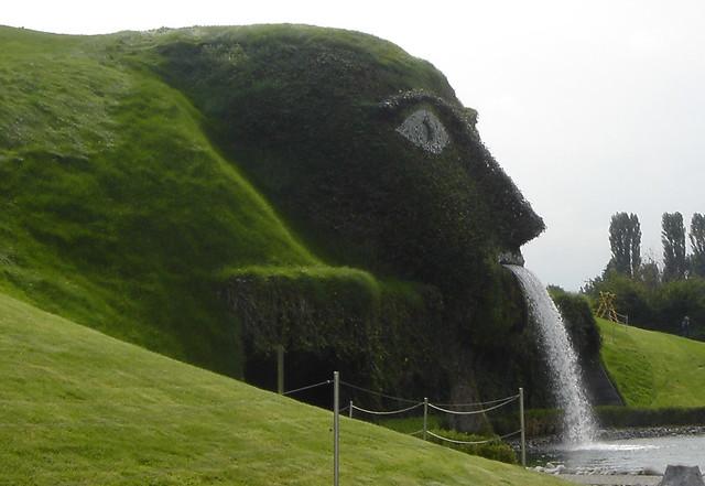 side view of surprising swarovski waterfall