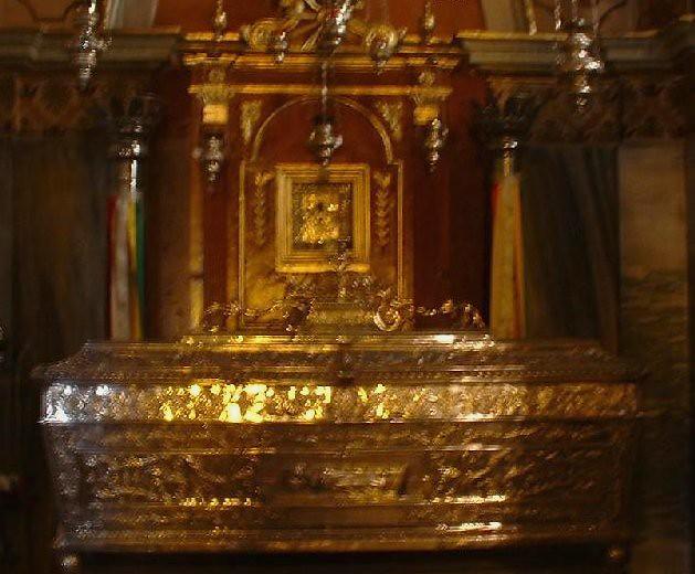 Church of Agios Spyridon  Ornate silver coffin containing ...