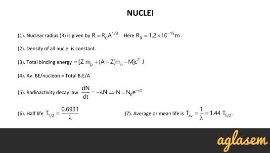 Important Notes of Physics for NEET, JEE: Nuclei