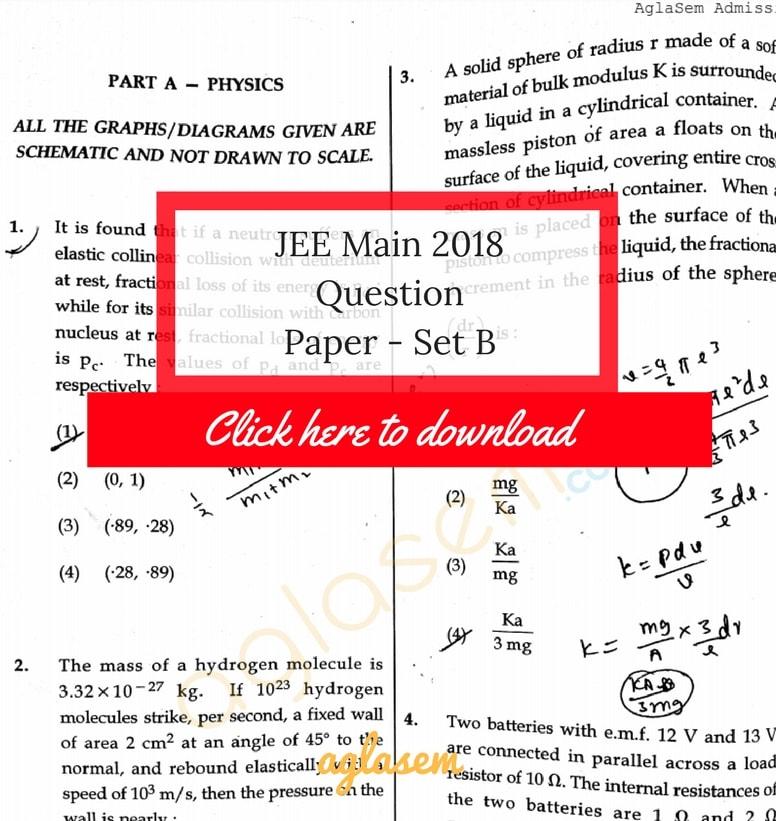 JEE Main 2018 Answer Key Paper 1 Set B