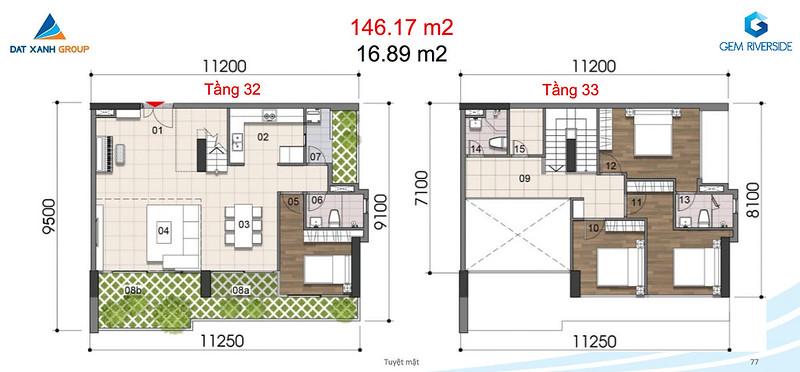 Gem Riverside thiết kế mẫu Duplex Villa - Penthouse 14