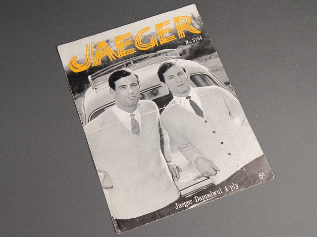 Jaeger 3734 Men's V-Neck Cardigan and Sweater 60s Vintage Knitting Pattern Leaflet