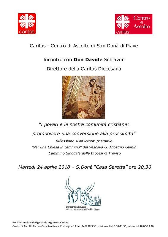 Incontro con don Davide Schiavon direttore della Caritas diocesana