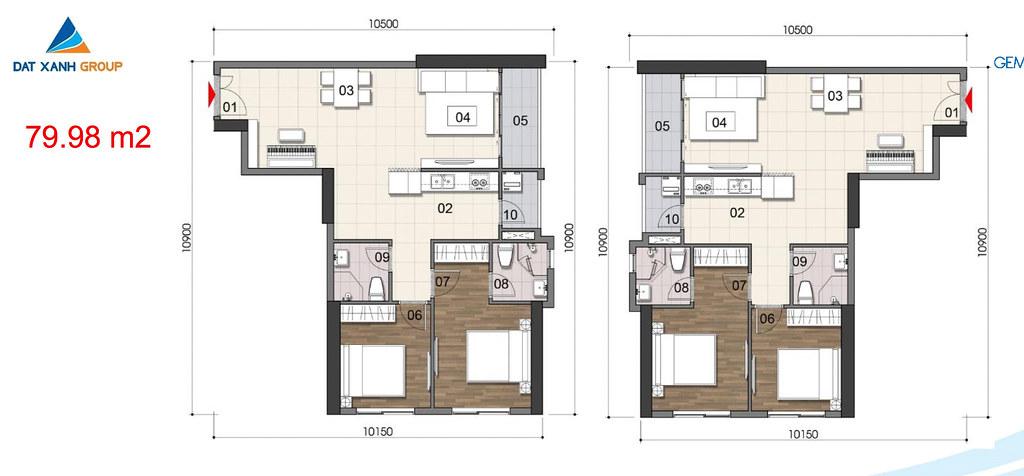 Thiết kế Mặt bằng tầng - căn hộ điển hình Gem Riverside 14