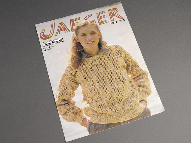 Jaeger 4827 Women's Openwork Sweater 80s Vintage Knitting Pattern Leaflet