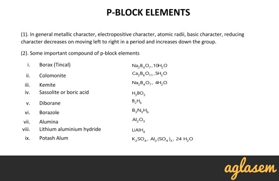 Important Notes of Chemistry for NEET, JEE: P-Block Elements
