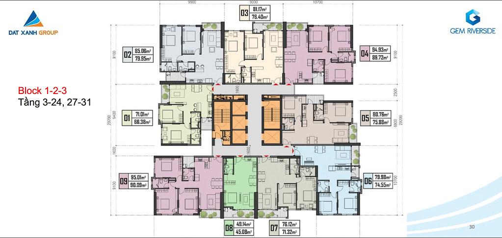 Thiết kế Mặt bằng tầng - căn hộ điển hình Gem Riverside 21