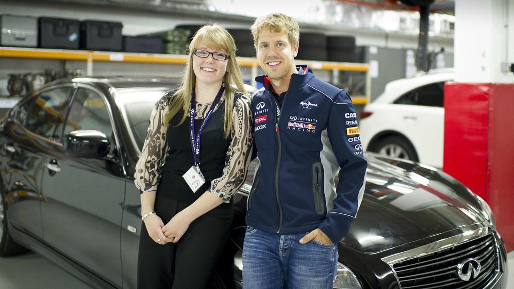 Gemma Hatton is pictured with Sebastian Vettel