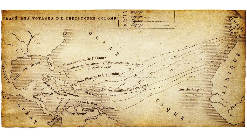 Map showing the voyages of Columbus across the Atlantic ocean