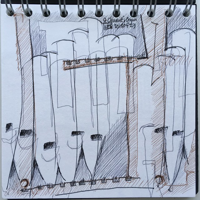 Semi abstract drawing of organ pipes at St Clement's