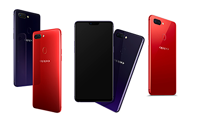 The OPPO R15 (center & right) will be available in Nebula Purple and Rouge Red in Singapore while the OPPO R15 Pro (left) will be available in Cosmic Purple and Ruby Red.