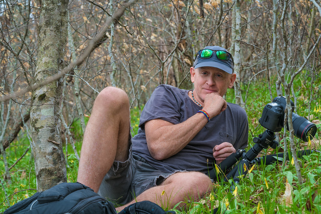 Alan Cressler among the Mountain Dimpled Trout Lilies