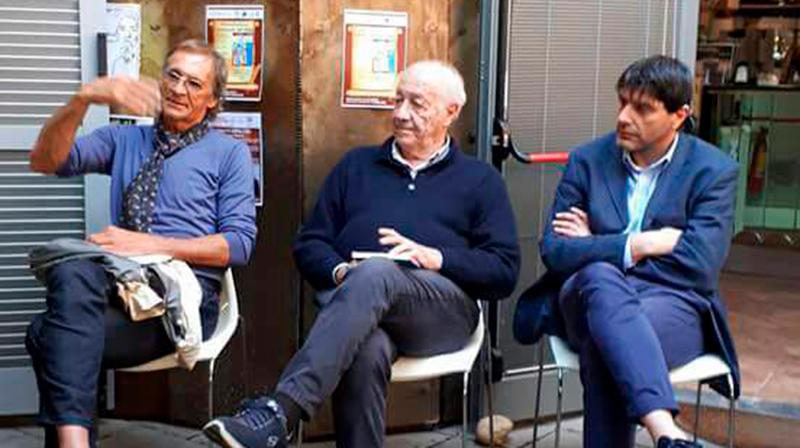 Da sx verso dx: Aldo Cantarutti, Remo Morelli e Roberto Ricca, tre pezzi di storia rossazzurra