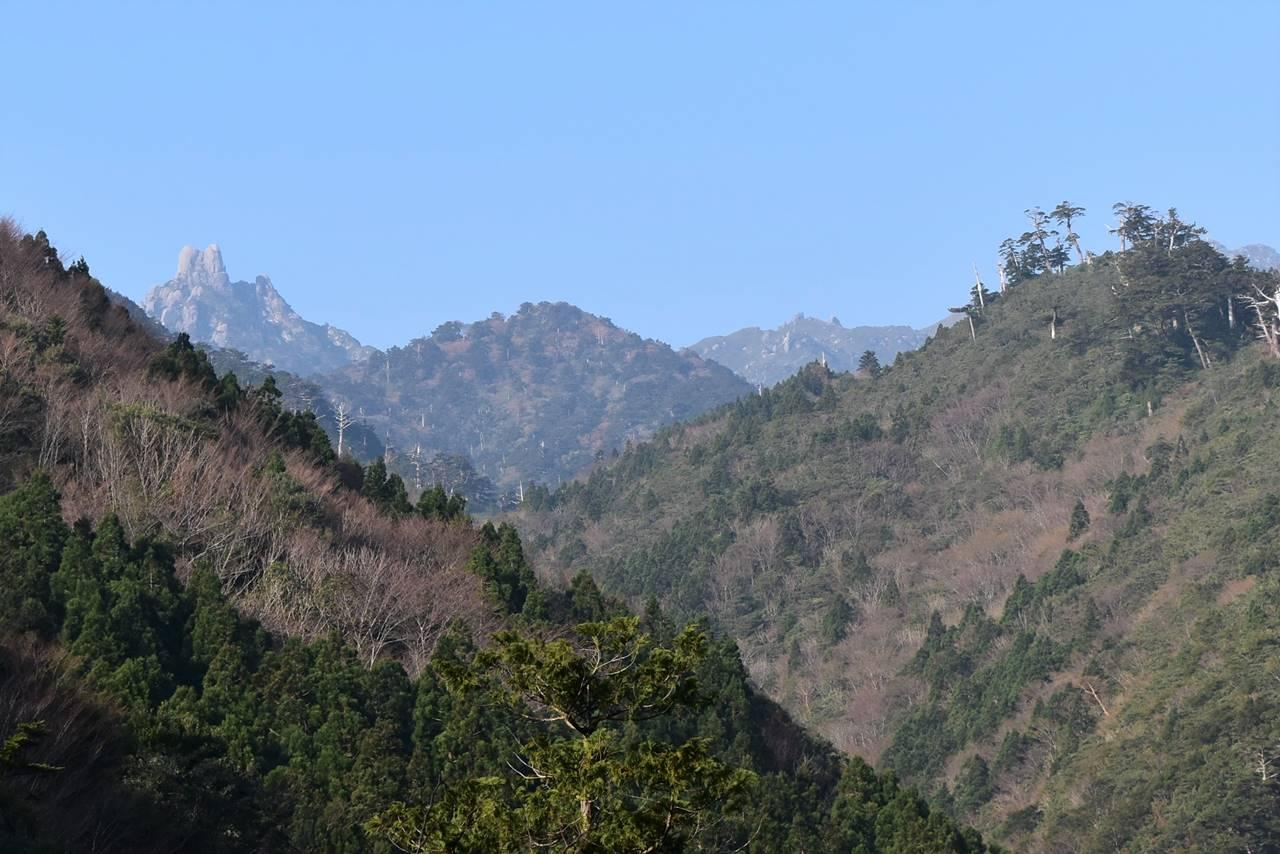 トロッコ道から翁岳の展望