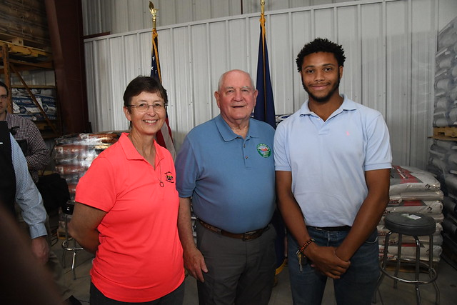 Brenda Schnell, Alliance NRCS Field Office secretary, U.S. Agriculture Secretary Sonny Perdue, and USDA Pathways intern, Luther Thompson II