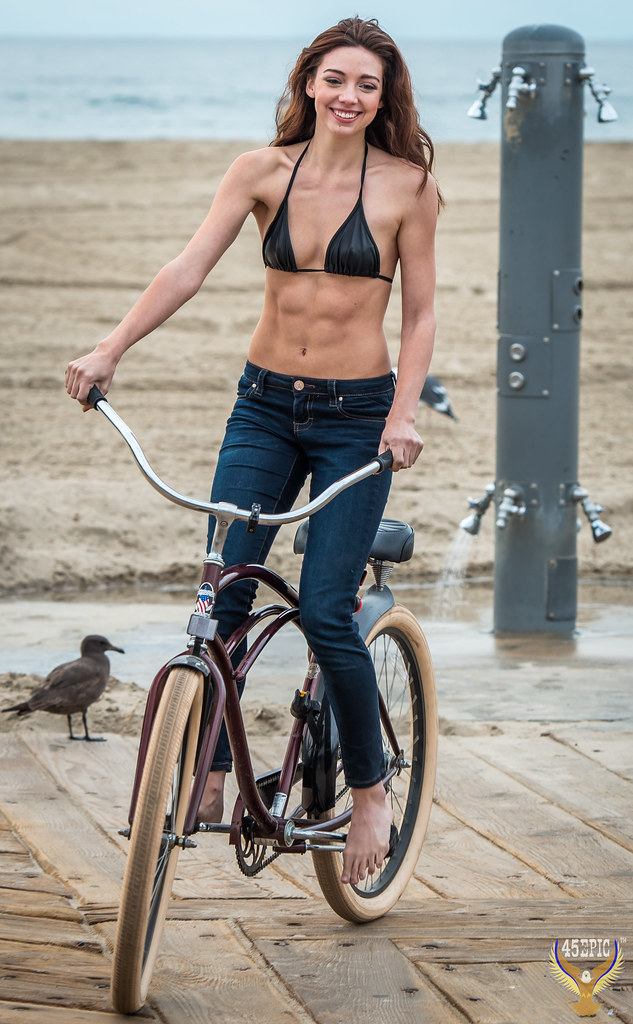 Pretty Model Riding A Beach Cruiser Bicycle Bike Swimsuit -7659