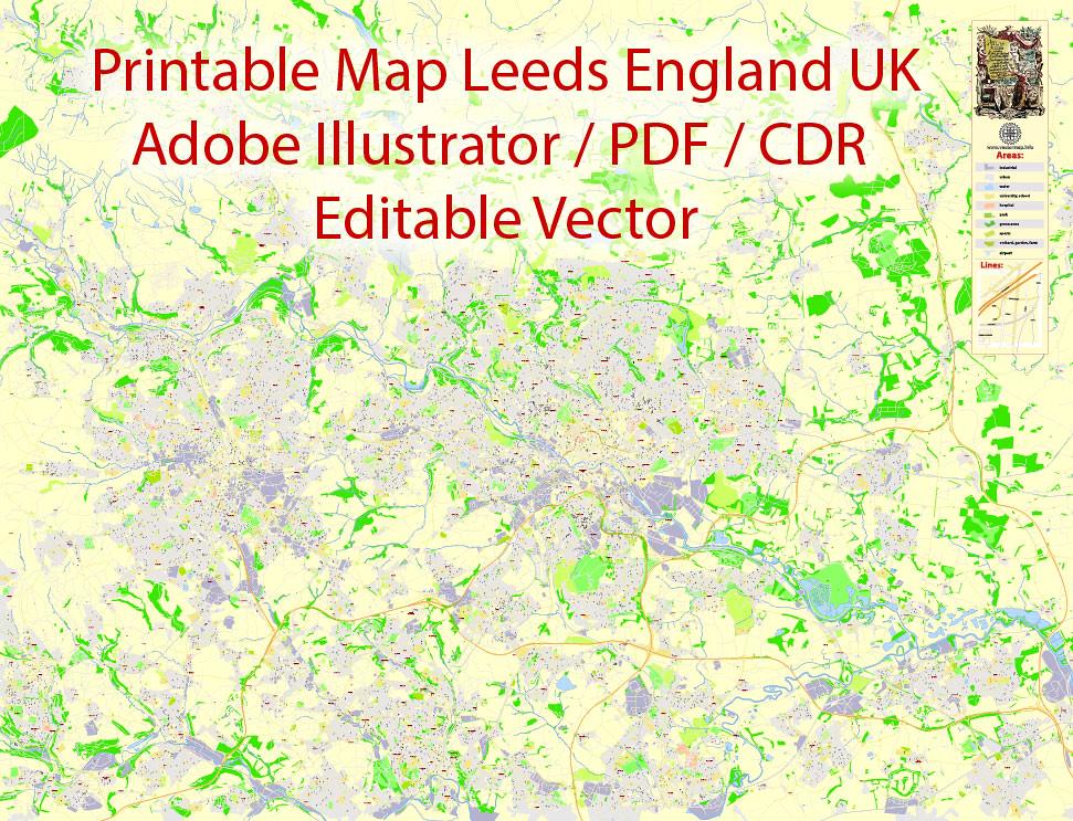 CDR Map Leeds Bradford England UK Printable Vector exa Flickr