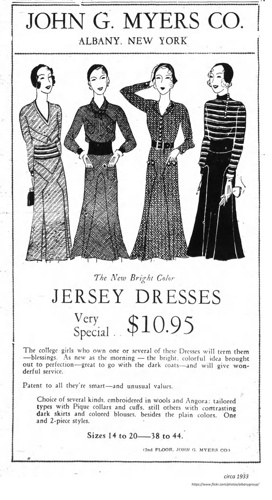 Myers Dept Store Womens Jersey Dresses 1933 Albanygroup Archive