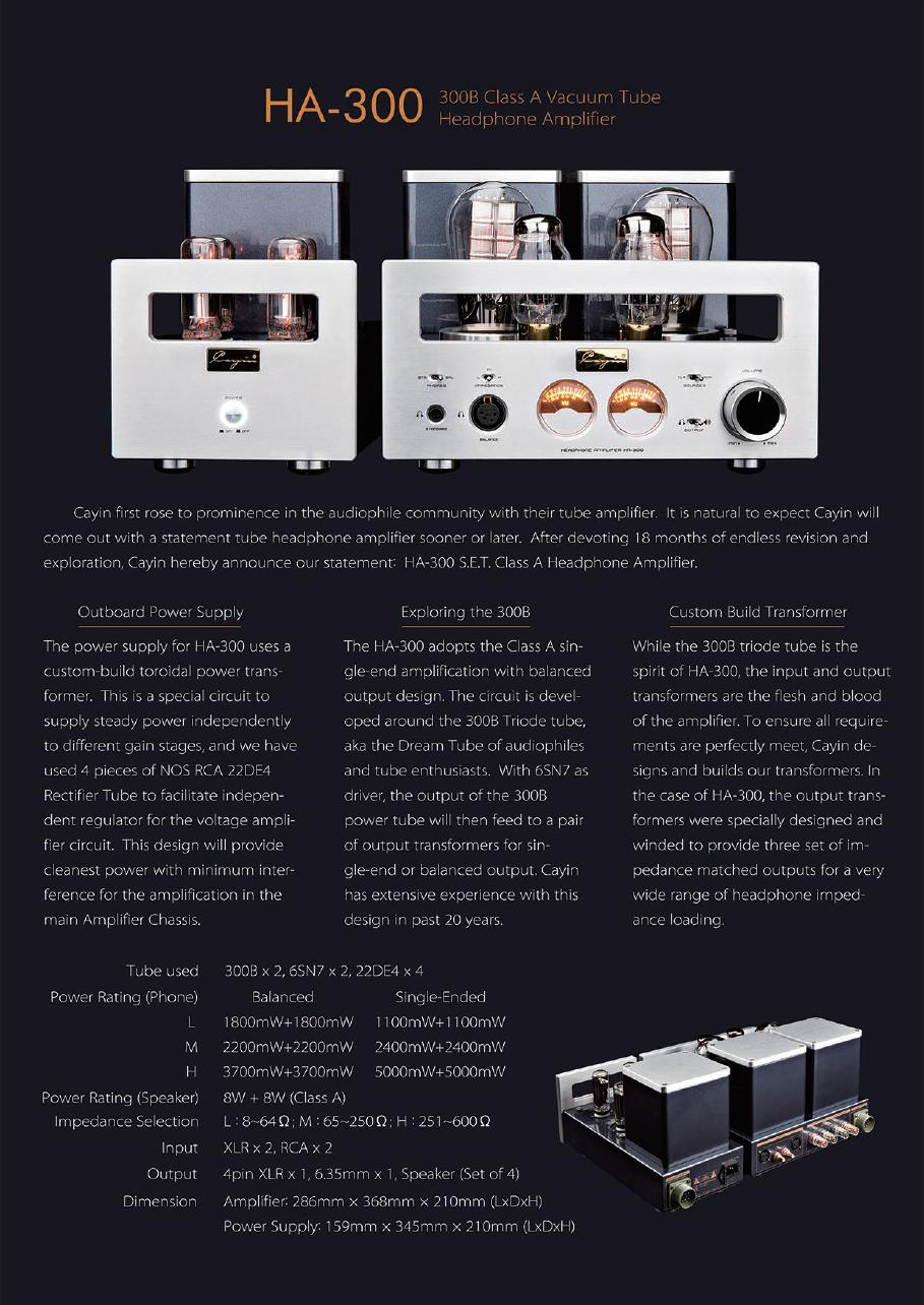 (PM Availability) Cayin HA-300 Direct Heated Triode Tube Headphone Amp