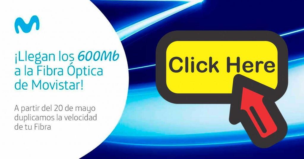 Movistar activa los enlaces para pedir la duplicación de velocidad a 100 y 600 megas