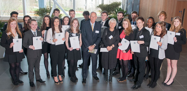 Brian & Margaret Roper with the 2013 cohort of Roper Scholars at a presentation event in February 2014