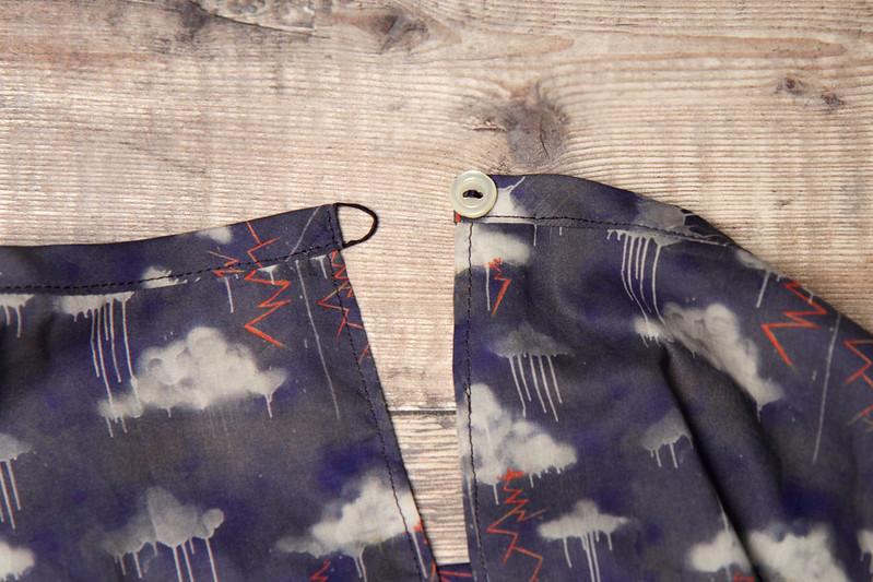 Buttonhole stitch loop fastening