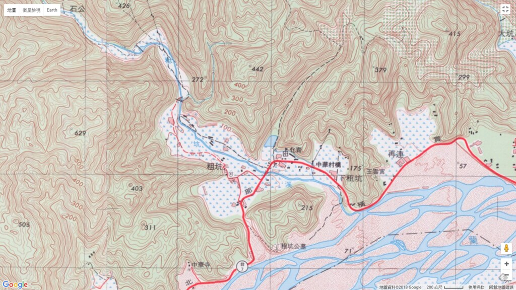 1985年(民國74年)經建版地形圖-粗坑地區仍標註為大片水田