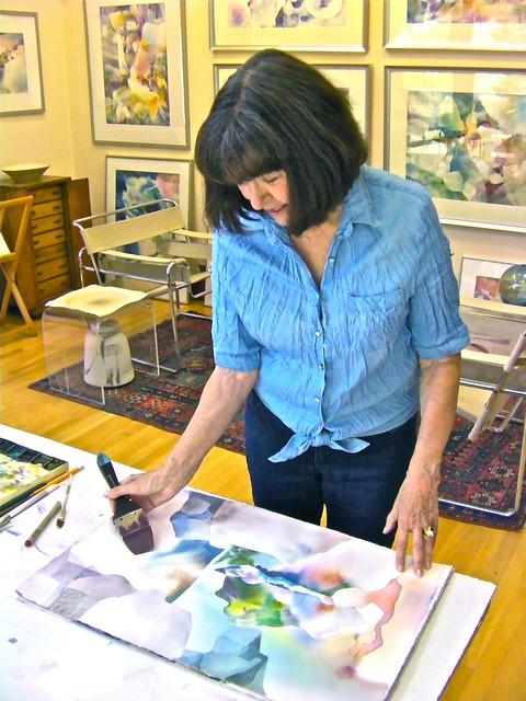 Barbara Nechis paints in her northern California studio