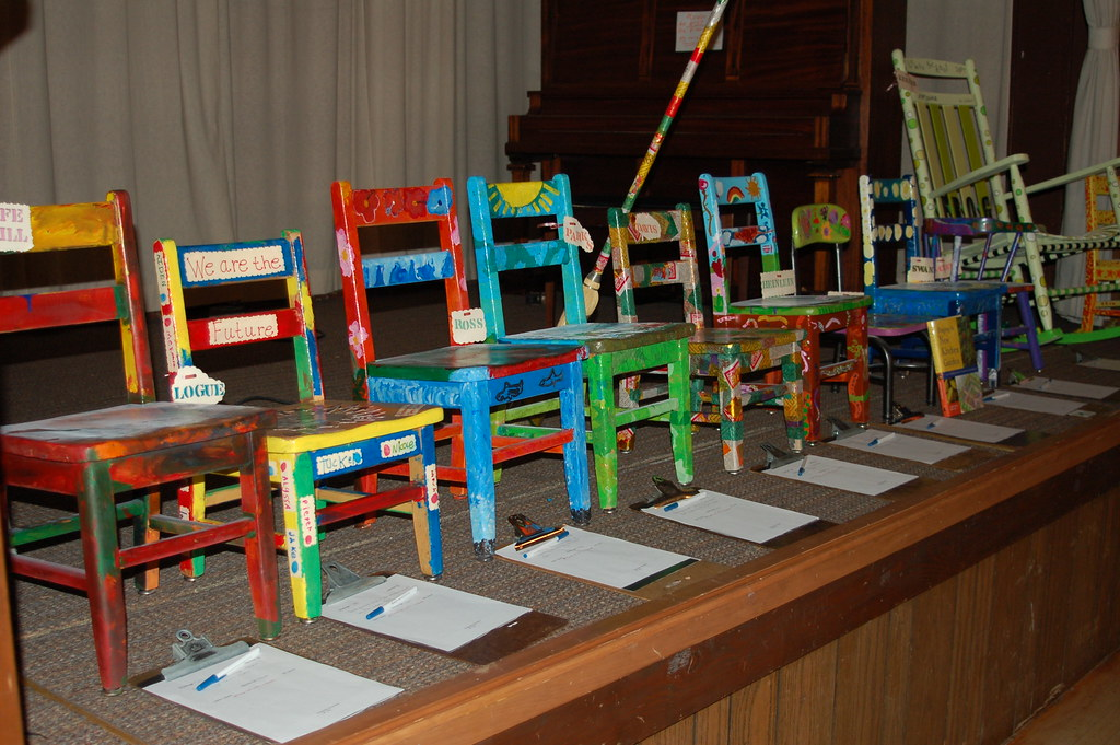 Modular Classroom Auction ~ Lewis auction chairs created by each classroom for