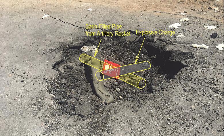 西奧多認為,從彈坑跟金屬管判斷,應該是放置於地上,上方再有一個炸彈引爆。