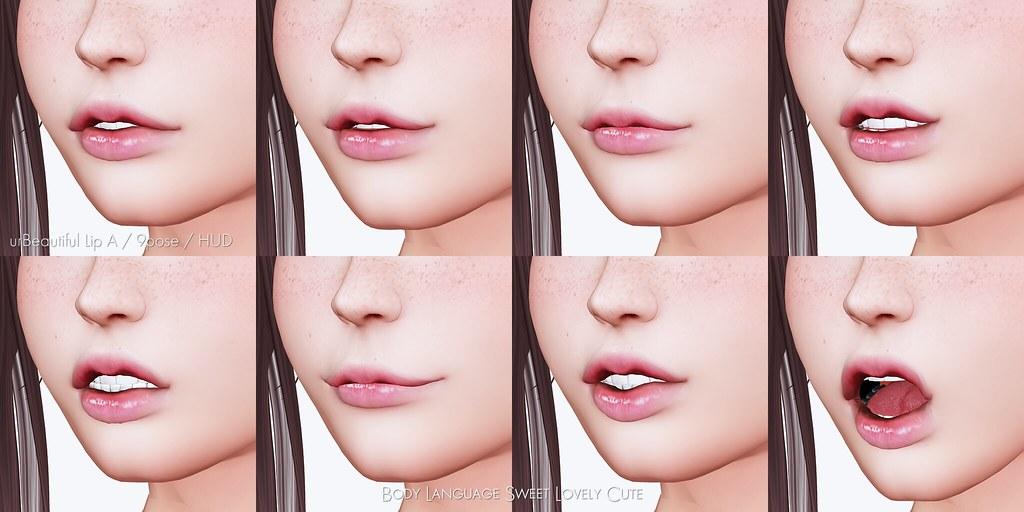 body language looking at lips