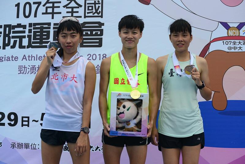 陳昭郡(圖中)成功拿下8年來第5面金牌。(中央大學全大運執行辦公室/提供)