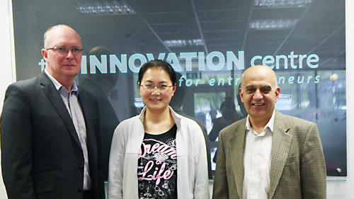 (Left to Right) Simon Bond, Innovation Centre Director, Zheng Ge, the Successful Student Entrepreneur and Dr Ali Hadavizadeh, Innovation Centre Business Support Manager.