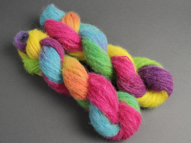 Fuzzy Lace – Brushed Baby Alpaca and Silk hand dyed yarn 25g – 'Lollipop'