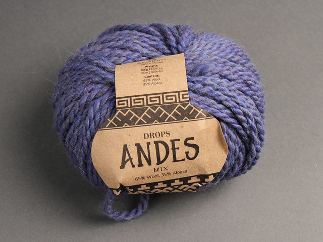 Destash yarn: Drops Andes Wool Alpaca Chunky/Bulky yarn 100g – 6343 heathered blue